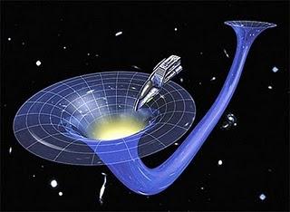 Ilustrasi perjalanan ruang angkasa menggunakan lubang cacing