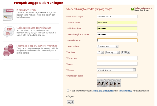 Isi data pribadi di infogue.com