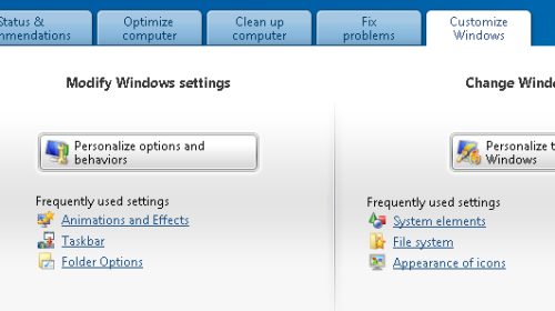 personalize options and behavior - tuneup utilities
