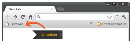 Petunjuk pemasangan: cukup klik sambil geser (drag)  tombol Lintaskan lalu lepaskan di bookmarks toolbar.