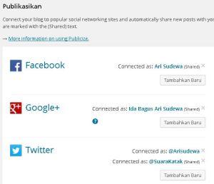 Koneksikan akun media sosial Anda dengan akun WordPress menggunakan fitur Publicize.